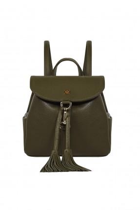 حقيبة ظهر نسائية جلد مزينة كشكشة سبور - اخضر