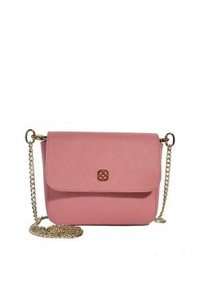 حقيبة يد نسائية جلد مدبوغ بغطاء كلاسيكي - زهري