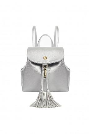 حقيبة ظهر نسائية جلد مزينة كشكشة سبور - رمادي