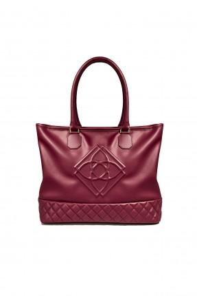 حقيبة يد نسائية من الاسفل جلد مقطع سبور - احمر