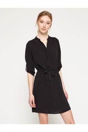 فستان نسائي بسيط بزمة عند الخصر - اسود