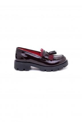 حذاء اطفال بناتي مع شراشيب خمري