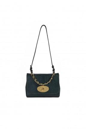 حقيبة يد نسائية مزينة بحزام معدني و قفل رسمي - اخضر
