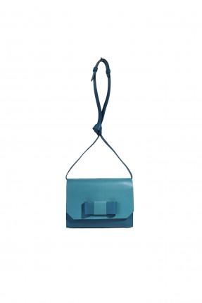 حقيبة يد نسائية جلد مزينة فيونكة سبور - ازرق