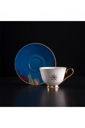 طقم فنجان قهوة مع صحن ازرق / شخصين /