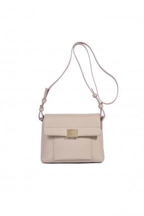 حقيبة يد نسائية جلد بغطاء وحزام كتف سبور - زهري