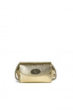 حقيبة يد نسائية جلد لامع بقفل معدن رسمي - ذهبي
