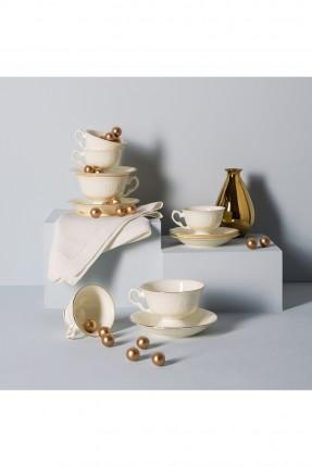 طقم فنجان شاي بكنار ذهبي / شخصين /