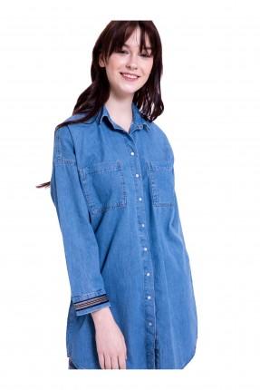 قميص نسائي جينز كتف منخفض كم طويل مقلم عند المعصم