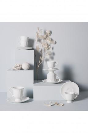 طقم فنجان قهوة ابيض كلاسيك / 6 اشخاص /