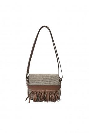 حقيبة يد نسائية صغيرة مزينة حزام مشرشب سبور - بني