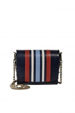 حقيبة يد نسائية جلد مخططة شيك - ازرق داكن