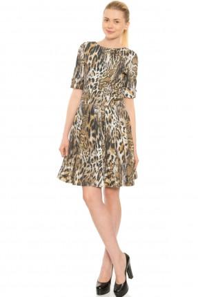 فستان نسائي نصف كم مطبوع جلد النمر سبور