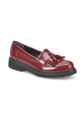 حذاء نسائي مع ربطة - خمري