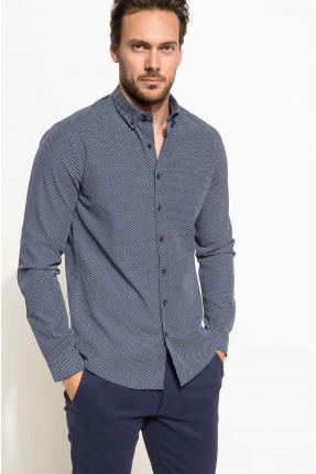 قميص رجالي مزين برقعة على الكوع - ازرق