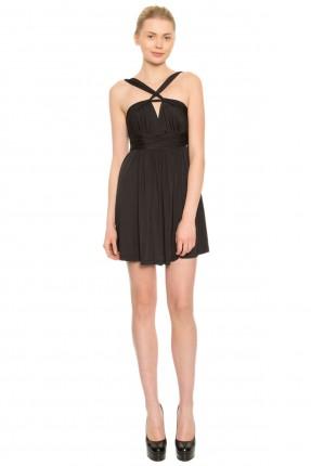 فستان مكسر قصير بشريط على الرقبة - اسود