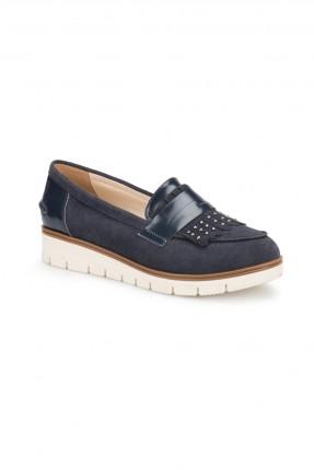 حذاء نسائي مع ستراس - ازرق داكن