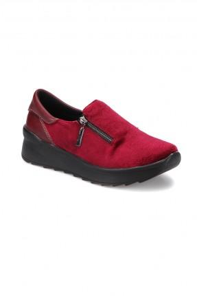 حذاء نسائي مع سحاب - احمر
