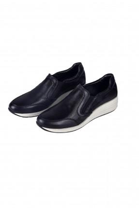 حذاء نسائي جلد مع مطاط - اسود