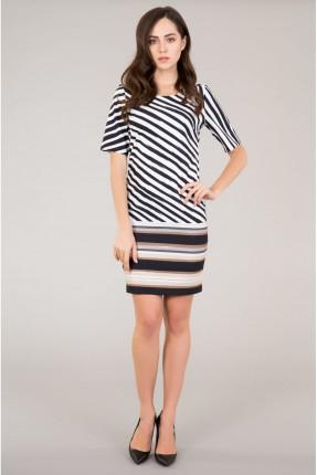فستان نسائي مخطط قصير نصف كم سبور