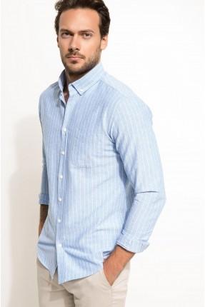 قميص رجالي مخطط بالطول - ازرق