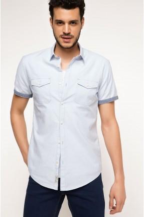 قميص رجالي بجيب  - ازرق