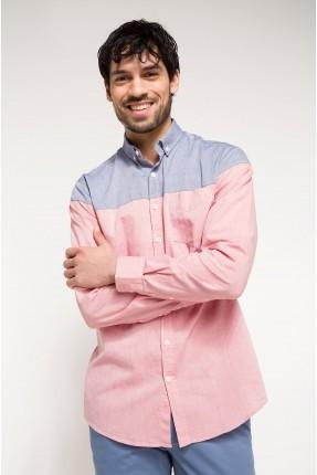 قميص رجالي ملون من الاعلى بالازرق - وردي