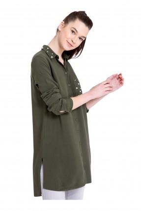 قميص نسائي سبور كم طويل مع لؤلؤ _ زيتي