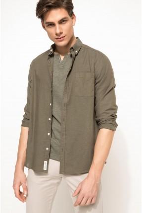 قميص رجالي مع جيب - زيتي