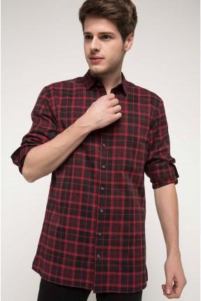 قميص رجالي مخطط - احمر