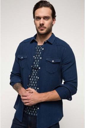 قميص رجالي مه جيوب - كحلي