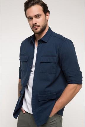 قميص رجالي مع جيوب - ازرق داكن