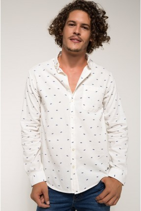 قميص رجالي منقش - ابيض