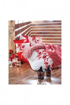 طقم غطاء سرير مزدوج بنقوش حمراء