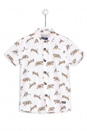 قميص اطفال ولادي كم قصير مزخرف برسمة نمر