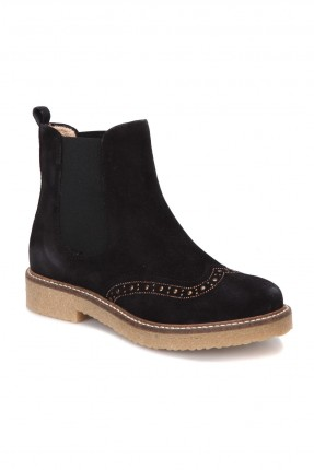 حذاء نسائي جلد ساق عالي - اسود