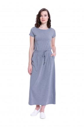 فستان سبور طويل كم قصير مع ربطة خصر وجيب