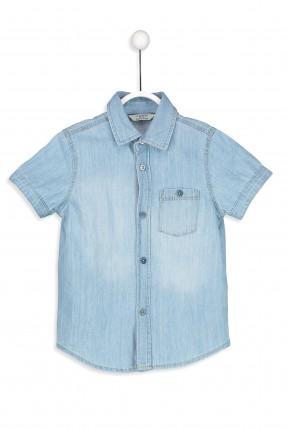 قميص اطفال ولادي جينز كم قصير مع ياقة