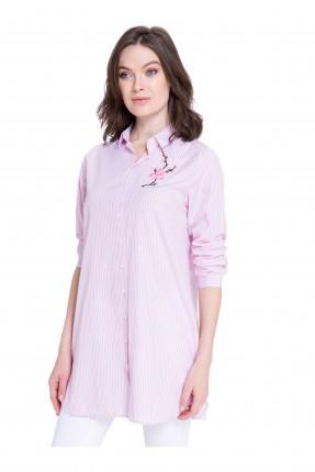 قميص نسائي سبور كم طويل مطرز مع ياقة