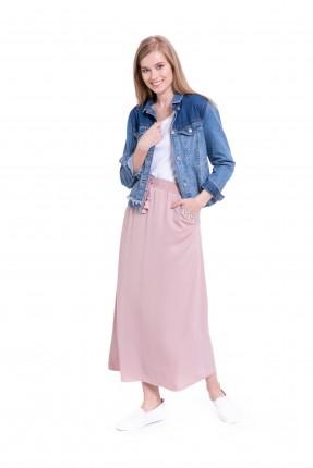 تنورة طويلة كلوش مع جيب مطرز _ زهري