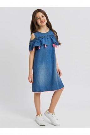 فستان اطفال بناتي جينز سبور مع كشكش وشراشيب وفتحة على الكتف ياقة مدورة