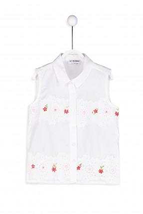 قميص اطفال بناتي بدون اكمام مطرز بورد