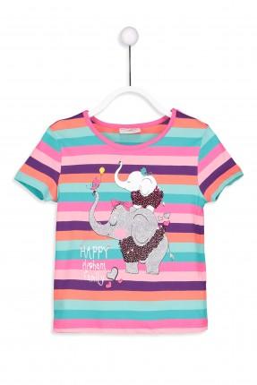 تيشرت اطفال بناتي كم قصير مخطط مع رسمة فيل