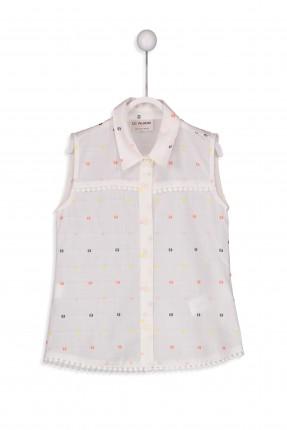 قميص اطفال بناتي بدون اكمام منقط مع ياقة