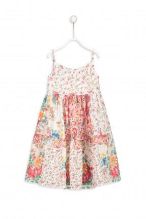 فستان اطفال بناتي مع زم تحت الصدر مزهر بدون اكمام