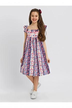 فستان اطفال بناتي مزهر بدون اكمام مع كشكش