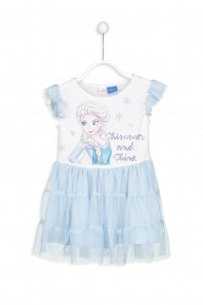 فستان اطفال بناتي تول مع كشكش على الاكمام ورسمة فروزن