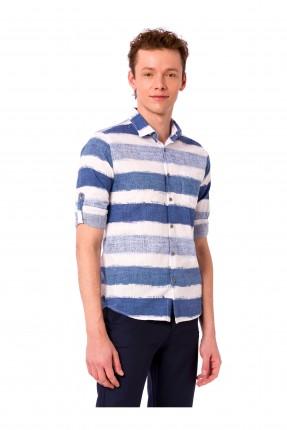 قميص شبابي مخطط كم طويل مع ياقة
