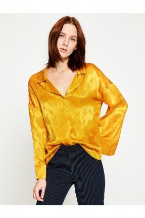 قميص نسائي منقش ساتان - اصفر