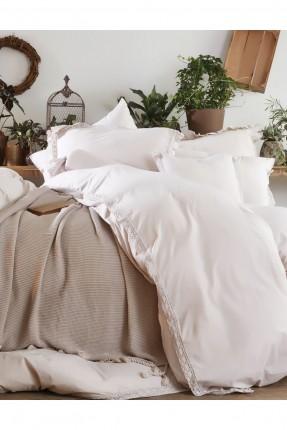 طقم غطاء سرير مزدوج  مقلم / قطعتين /